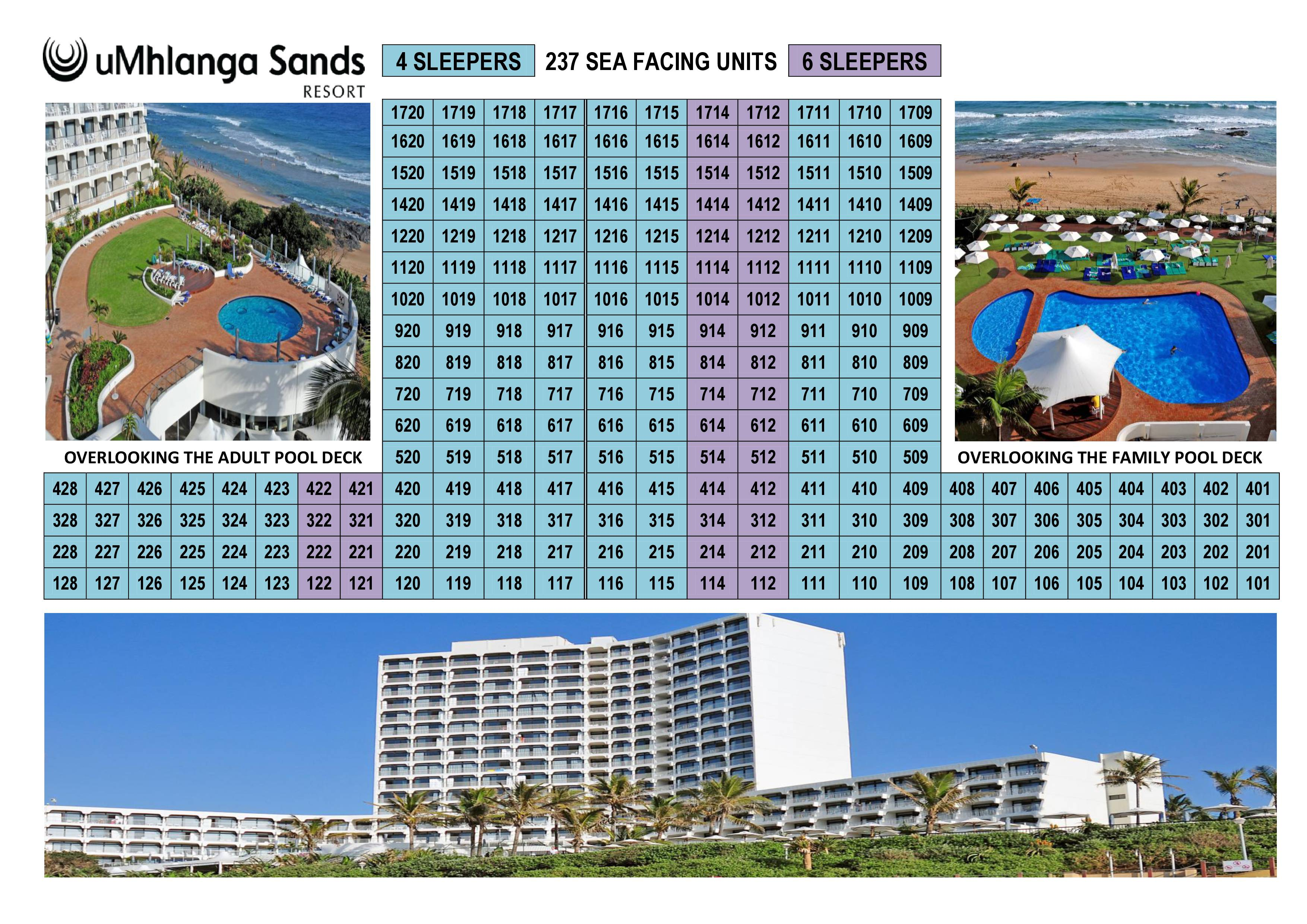 Umhlanga Sands Resort Unit Layout of Building